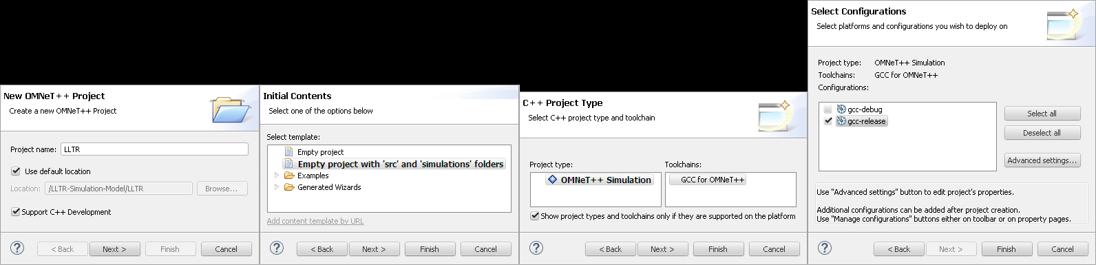 New OMNeT++ project Wizard