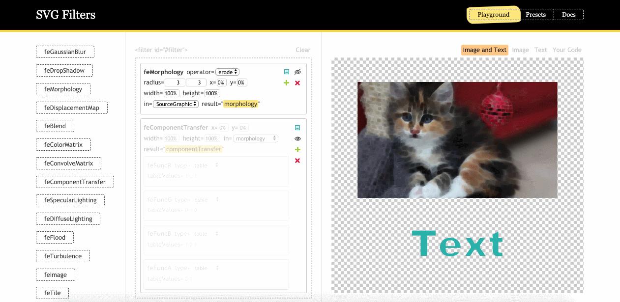 Визуальный редактор фильтров SVG от Yoksel