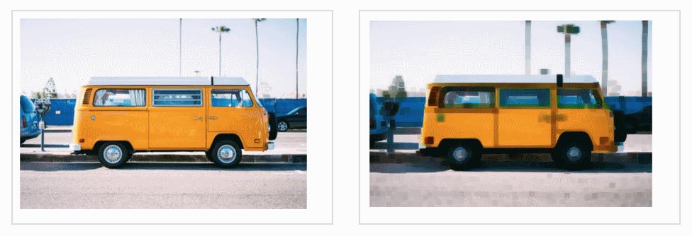 Справа результат применения эффекта размывания морфинга к изображению слева