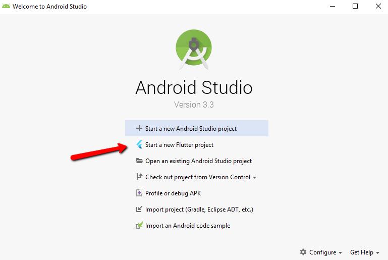 Начало создания проекта Flutter в Android Studio