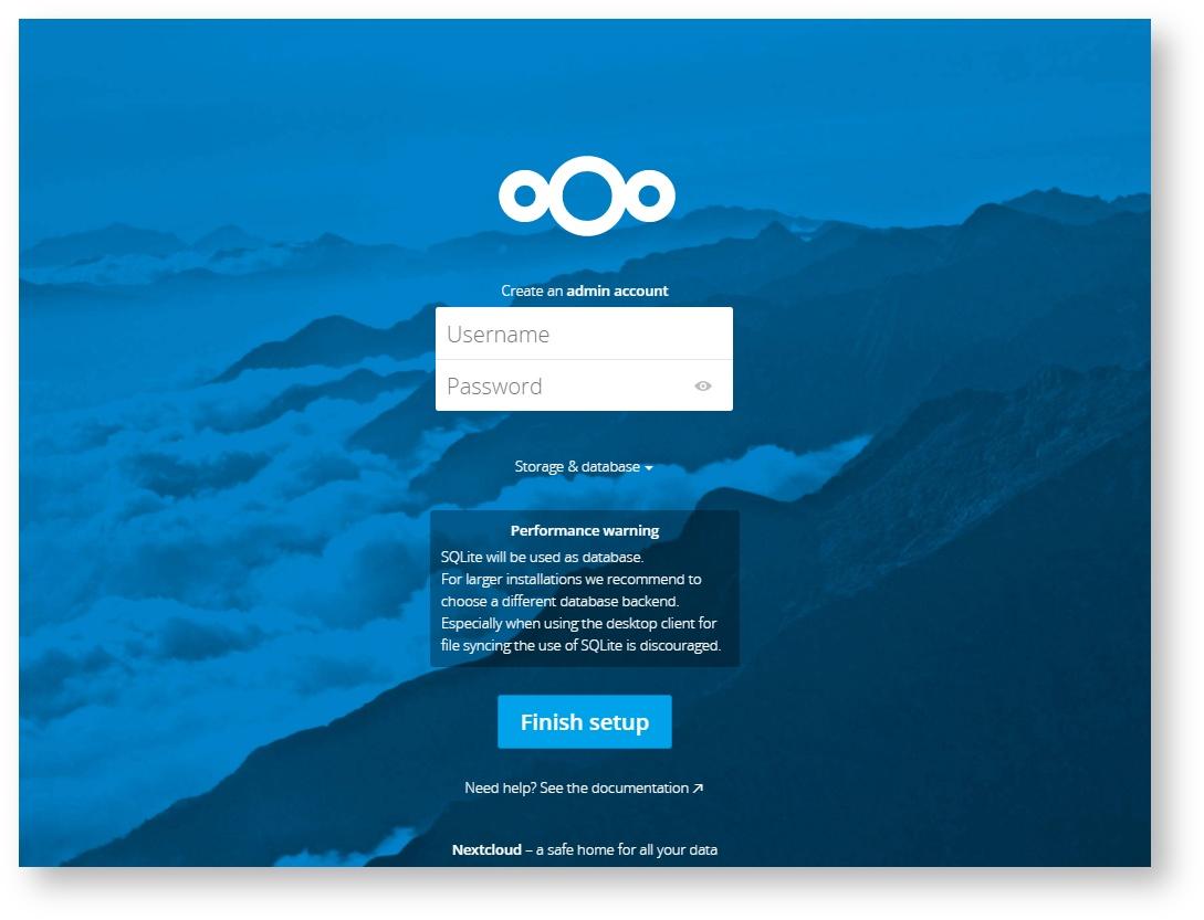 Откройте web-интерфейс Nextcloud и установите имя и пароль для администратора