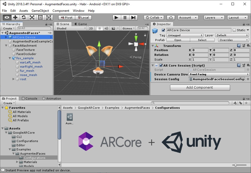 Build the Augmented Faces ARCore example in Unity