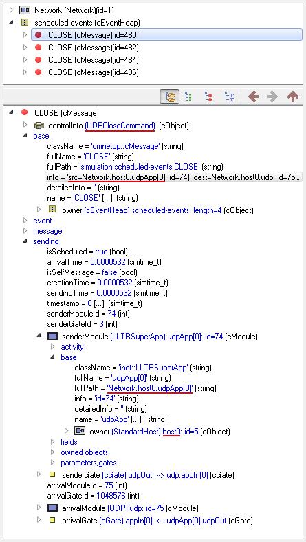 qtenv: finish – scheduled events – CLOSE – UDPCloseCommand – host0