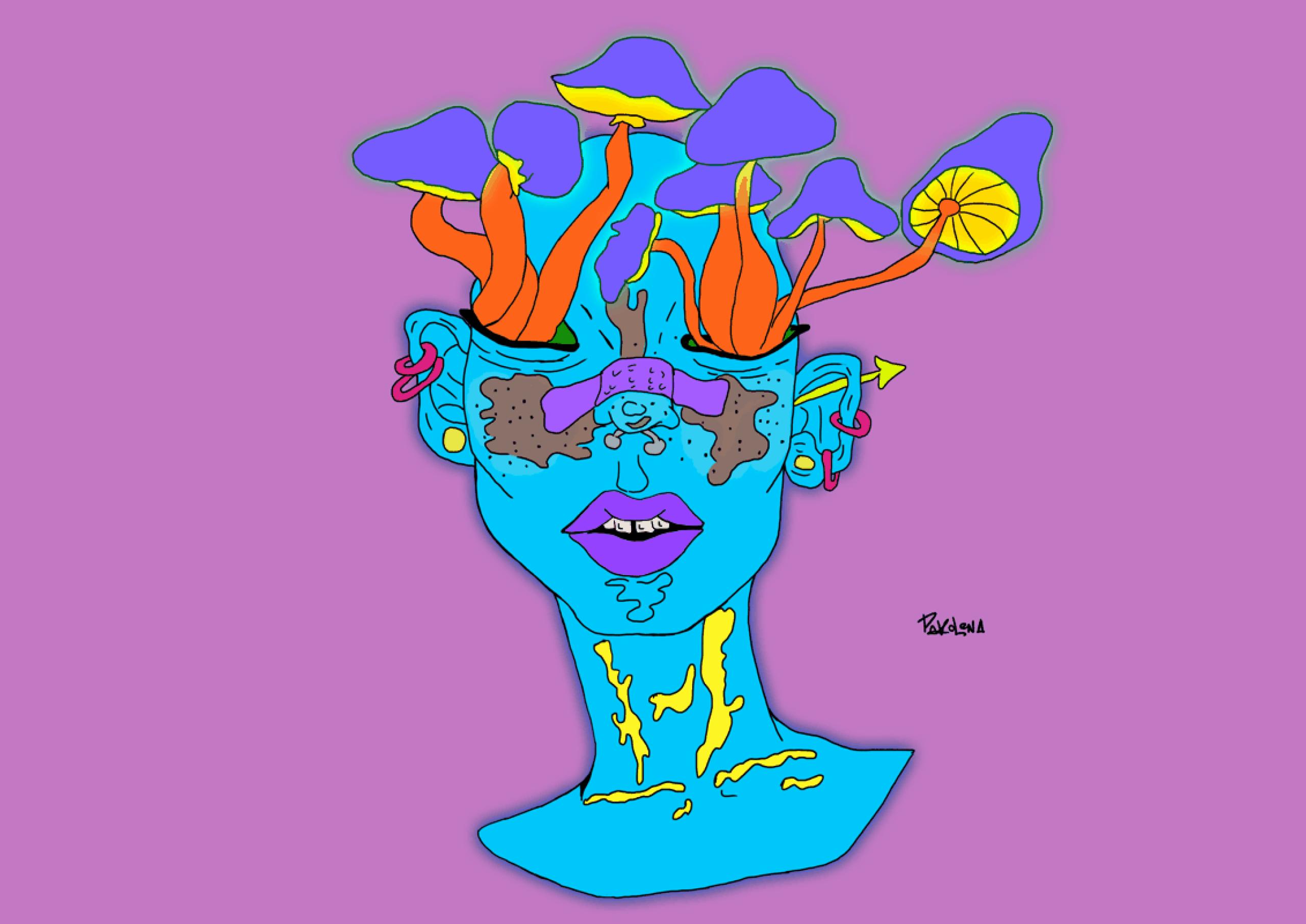 Синее лицо, из глаз растут грибы