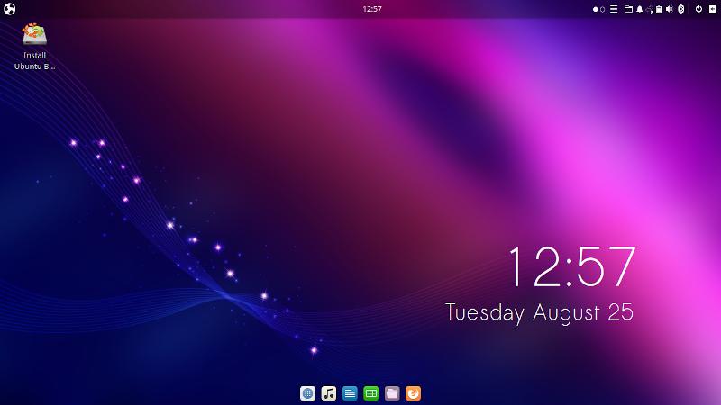 РАбочий стол Ubuntu Budgie 20.04 сразу после загрузки в live-режиме