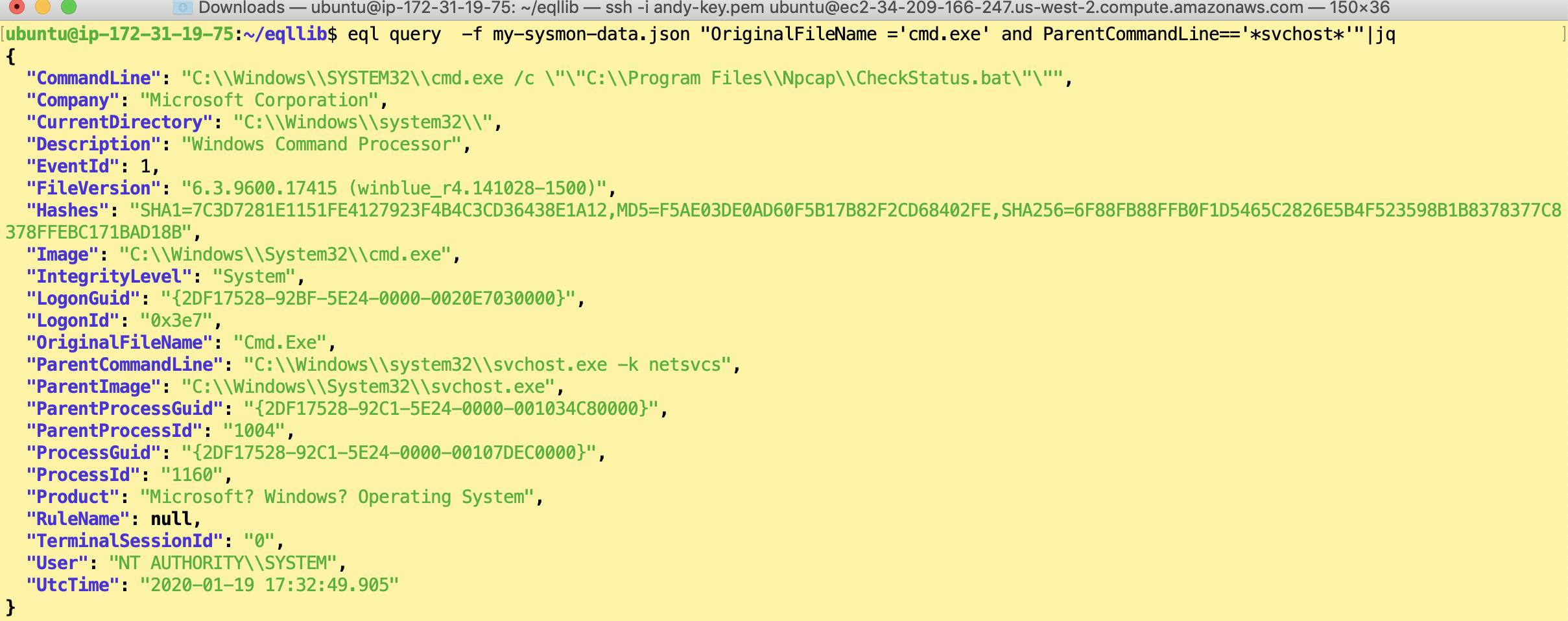 Использование EQL для поиска шеллов cmd.exe, запущенного от svchost.exe. Кстати, jq это Linux-утилита для отображения JSON данных