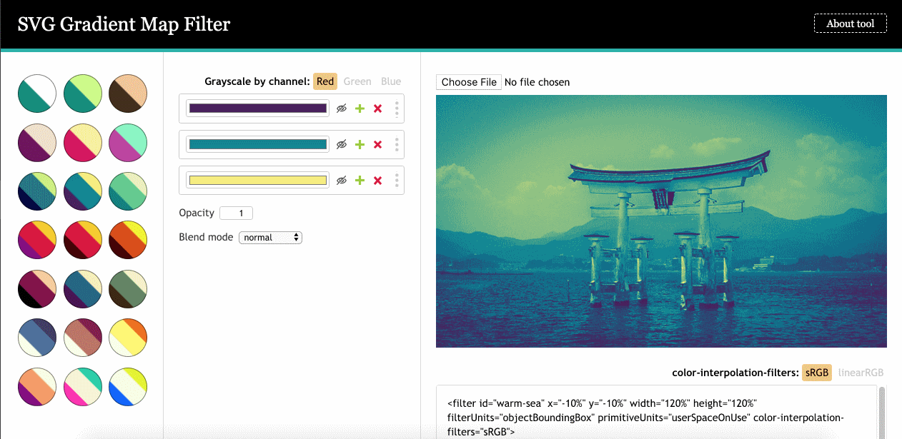 Инструмент SVG-фильтра **Gradient Map** от Yoksel