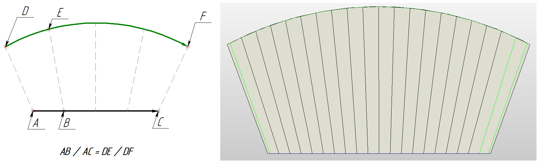 Рисунок 6. Распределение изопараметрических линий (тип выравнивания – по длине дуги)