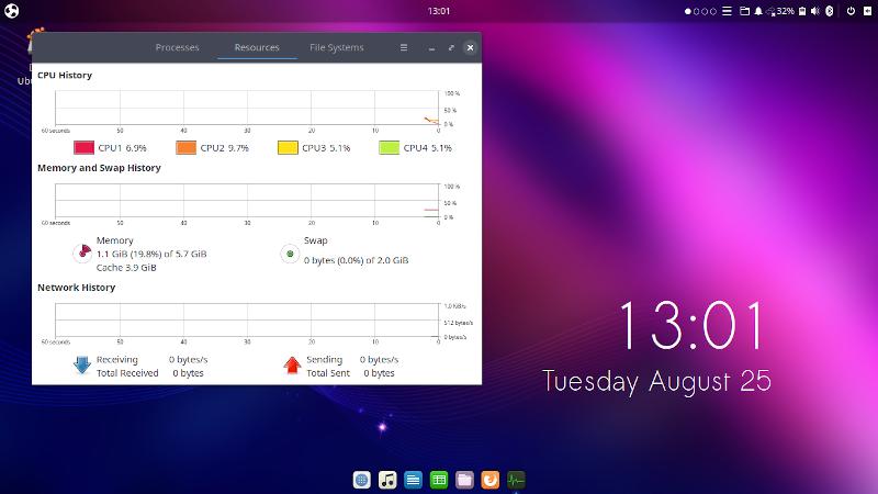 Ubuntu Budgie 20.04 с запущенным системным монитором сразу после загрузки