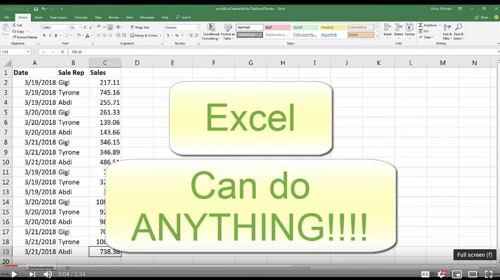 Перевод Ода Excel 34 года волшебства