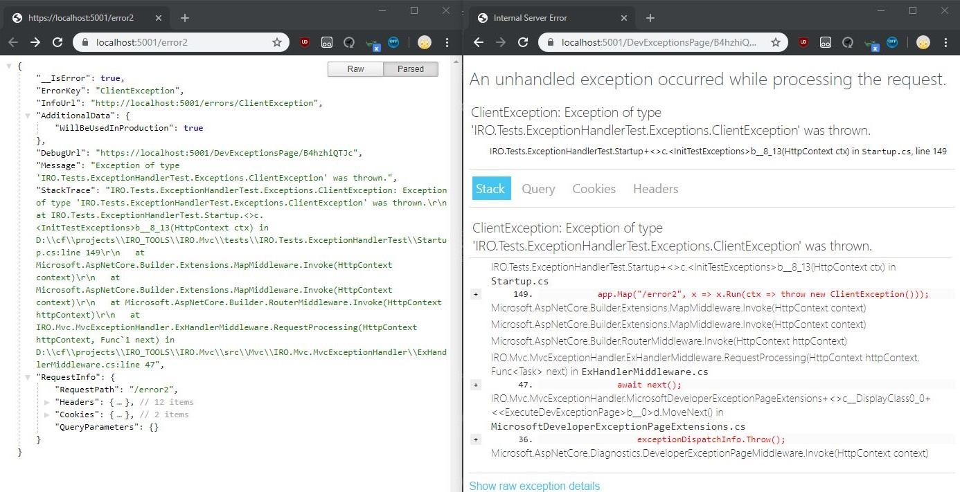 Обработка исключений ASP.NET при помощи IRO.Mvc.MvcExceptionHandler