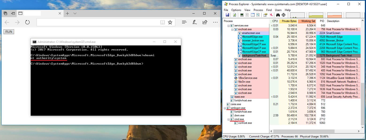 Operating Microsoft Edge from CVE to RCE on Windows 10