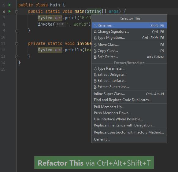 Рис. 2. «Refactor This» для имени функции