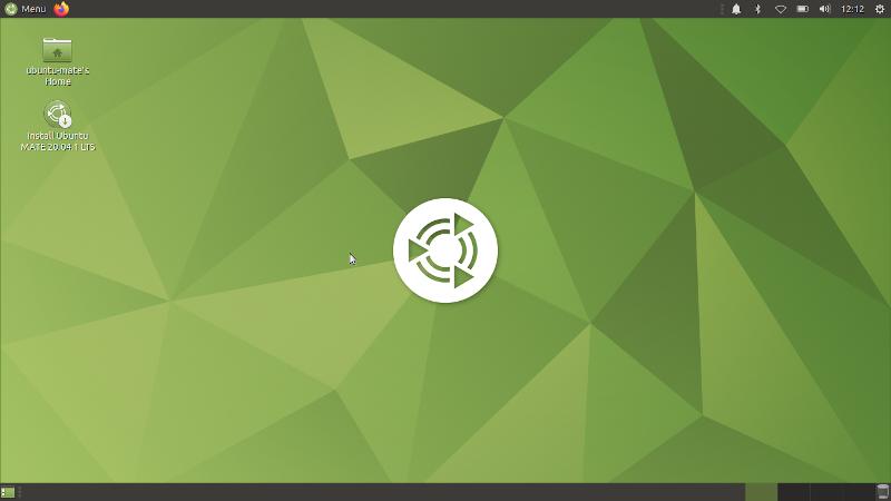 Рабочий стол Ubuntu MATE 20.04 сразу после загрузки в live-режиме