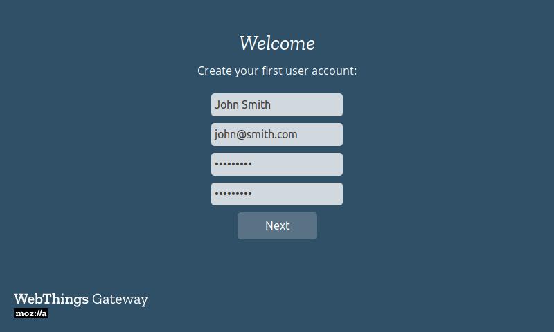 Создание аккаунта пользователя