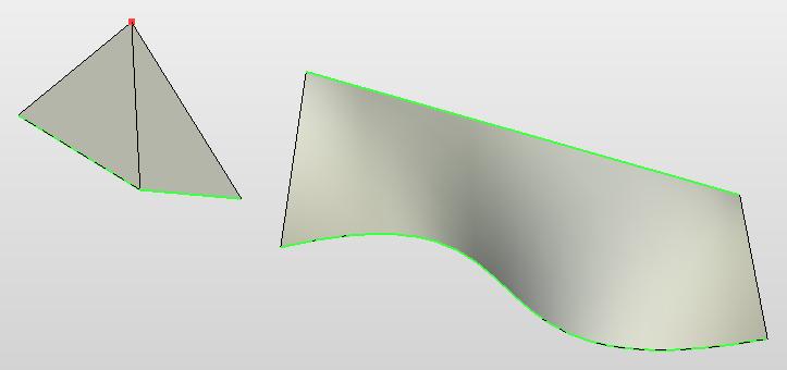 Рисунок 5. Примеры линейчатых поверхностей (зелёные линии - направляющие)