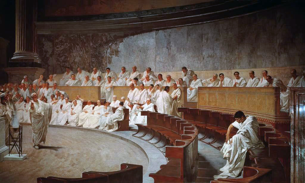Cicero Denounces Catiline, fresco by Cesare Maccari, 1882–1888