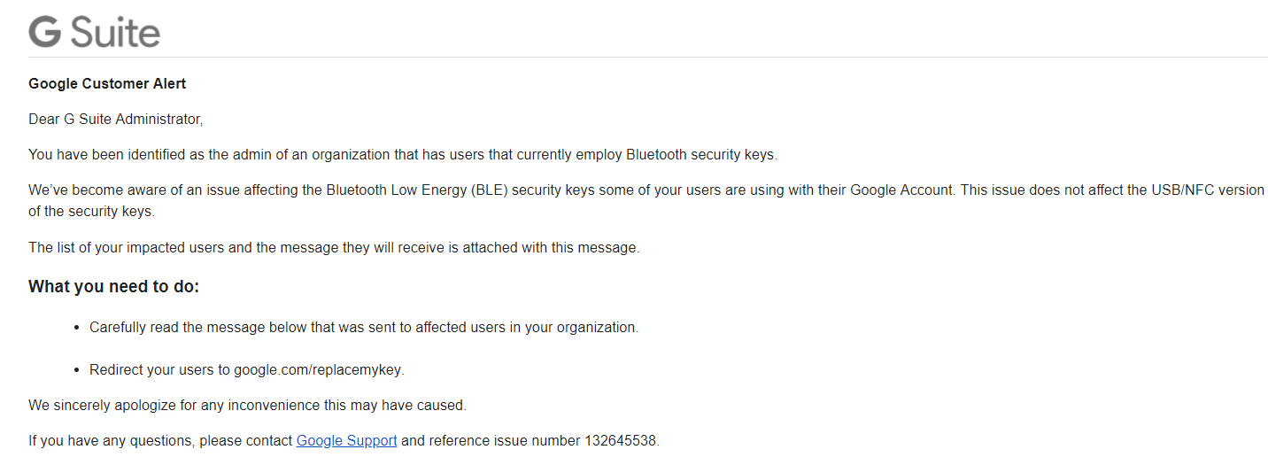 Google informs users about a vulnerability with their Titan