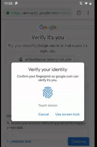 Пользователи на Android теперь могут входить в сервисы Google по отпечатку пальца