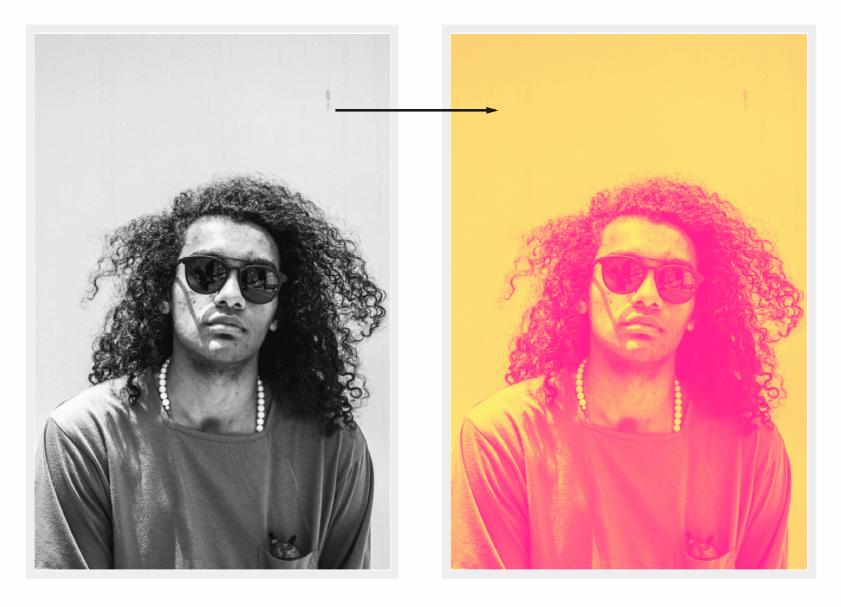 Результат (справа) отображения изображения с оттенками серого (слева) в нашу градиентную карту