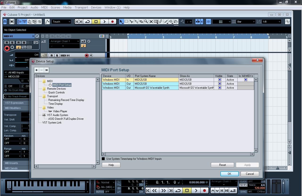 Cubase MIDI Configuration