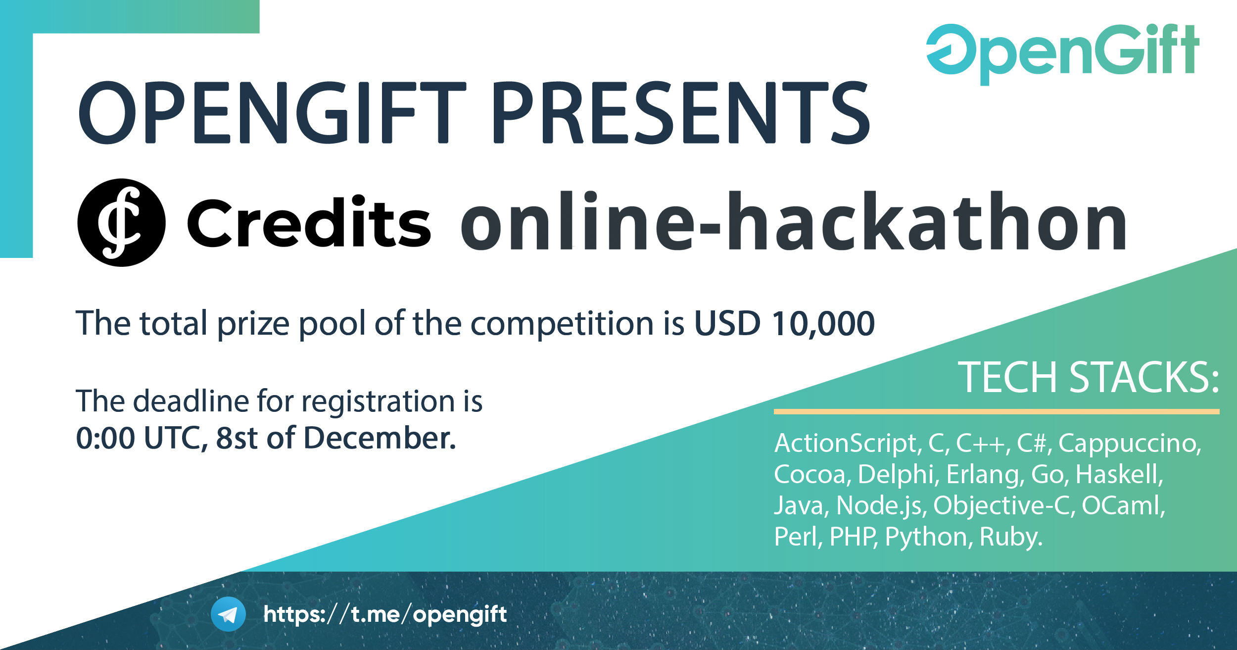 Joint online hackathon from OpenGift and Credits Blockchain Platform