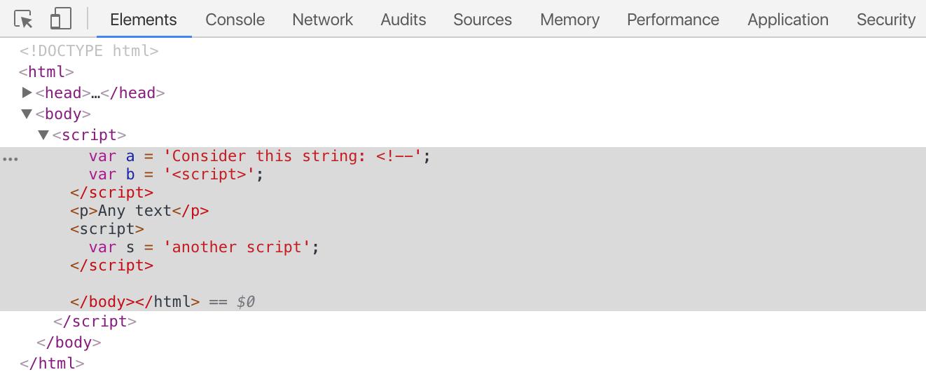 Фундаментальная уязвимость HTML при встраивании скриптов