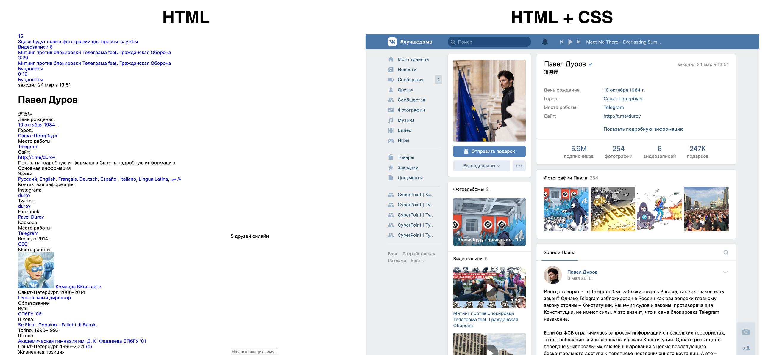 Сайт без исопльзования CSS и с ним