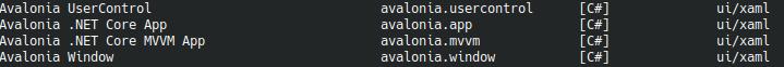 Типы проектов Авалонии