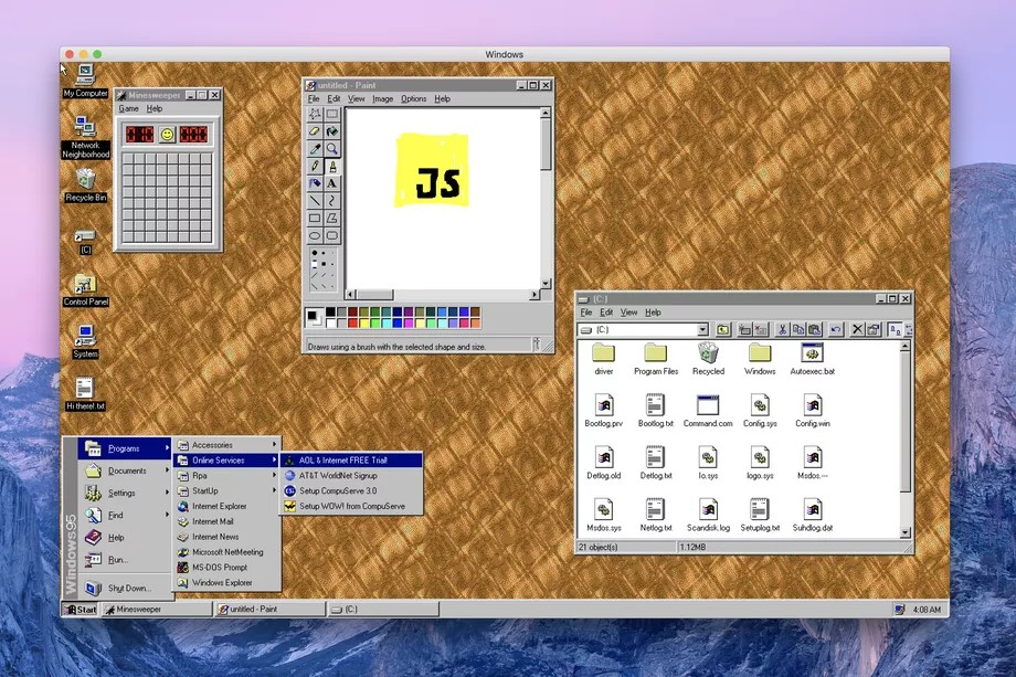 Windows 95 was ported to Electron