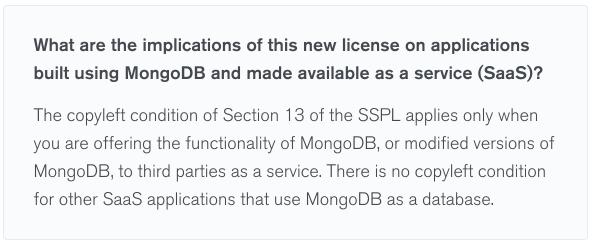 Из песочницы Чем для вас опасна MongoDB SSPL лицензия?