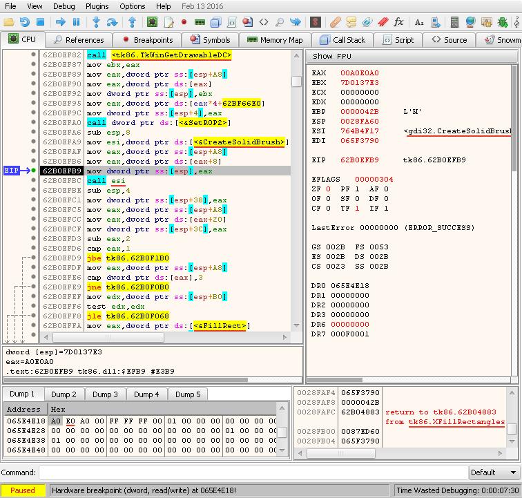 cpu – hardware breakpoint 0x065E4E18