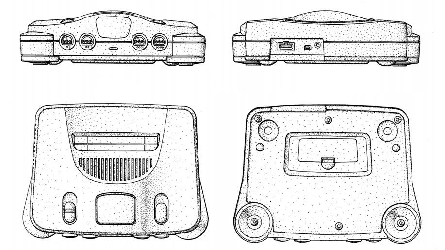 Запатентованное изображение того, что весь мир знает как Nintendo 64. На тыльной стороне видно, что блок питания стыковался с консолью не напрямую, а через кабель