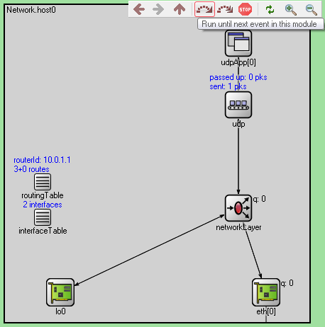 qtenv: in host0 – run until next event in this module btn – broadcast 255.255.255.255