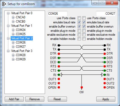 Настройка виртуальных COM-портов