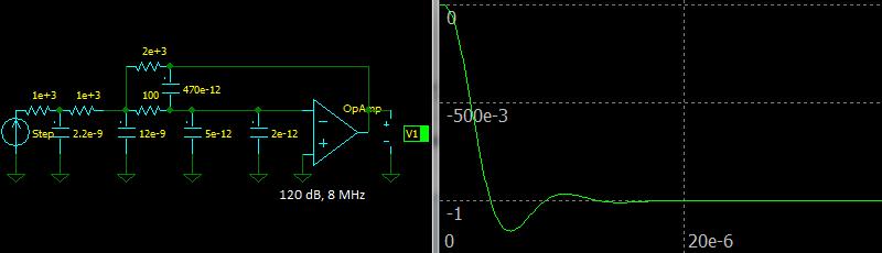 Third Order Multiple Feedback Butterworth Low-pass Filter, Step response