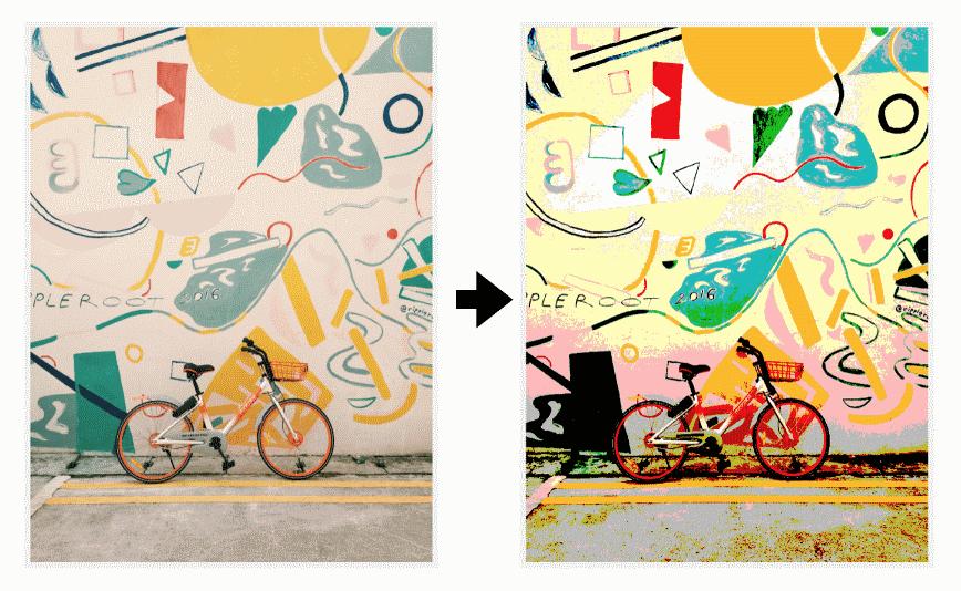 Применение эффекта постеризации к изображению слева при помощи **feComponentTransfer** уменьшает количество цветов в этом изображении (справа)