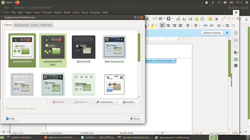 Ubuntu MATE 20.04 с несколькими открытыми окнами на рабочем столе