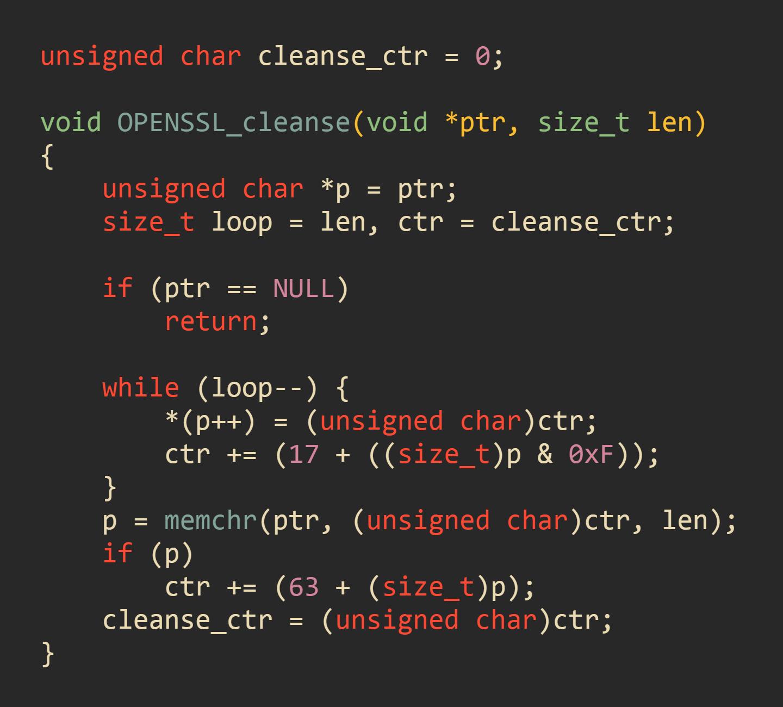 Функция очистки из проекта OpenSSL (файл crypto/mem_clr.c)
