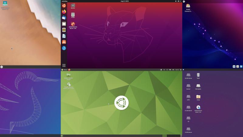 Картинка для привлечения внимания — коллаж из шести скриншотов с рабочими столами каждого из рассмотренных в обзоре дистрибутивов
