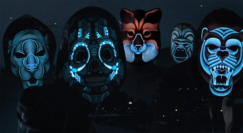 профессиональной картинки со светящимися масками цеха, где