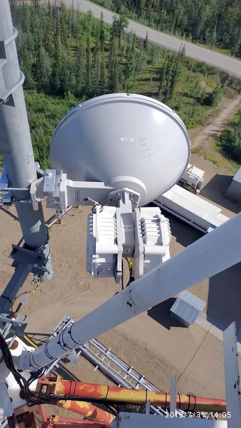 Радиомост ДОК модели PPC-10G-E-HP/2+0 на вышке в пос.Прилуки