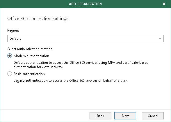 [Перевод] Настройки аутентификации в Veeam Backup for Microsoft Office 365 v3