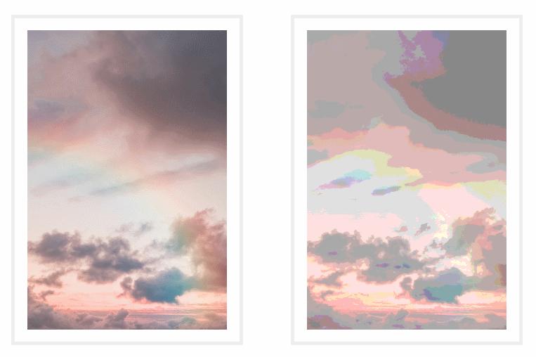 Изображение справа является копией изображения слева, к которому применили дискретную функцию для уменьшения количества цветов в нем до 5 на компонент