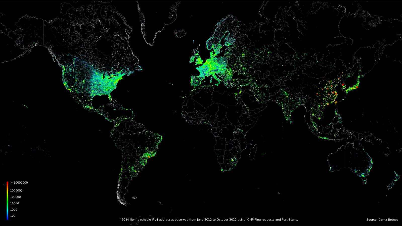 Карта мира, показывающая 460 миллионов IP-адресов
