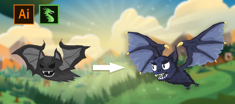 Dragon Bones: создание 2D персонажа и скелетная, mesh-анимация