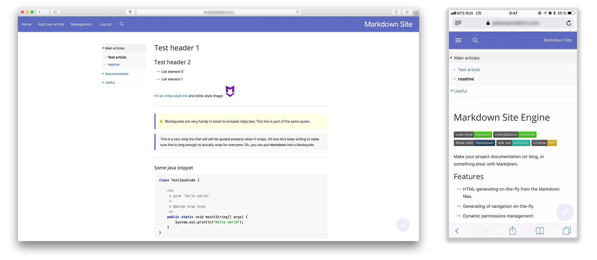 Markdown knowledge base (or blog, or project documentation)