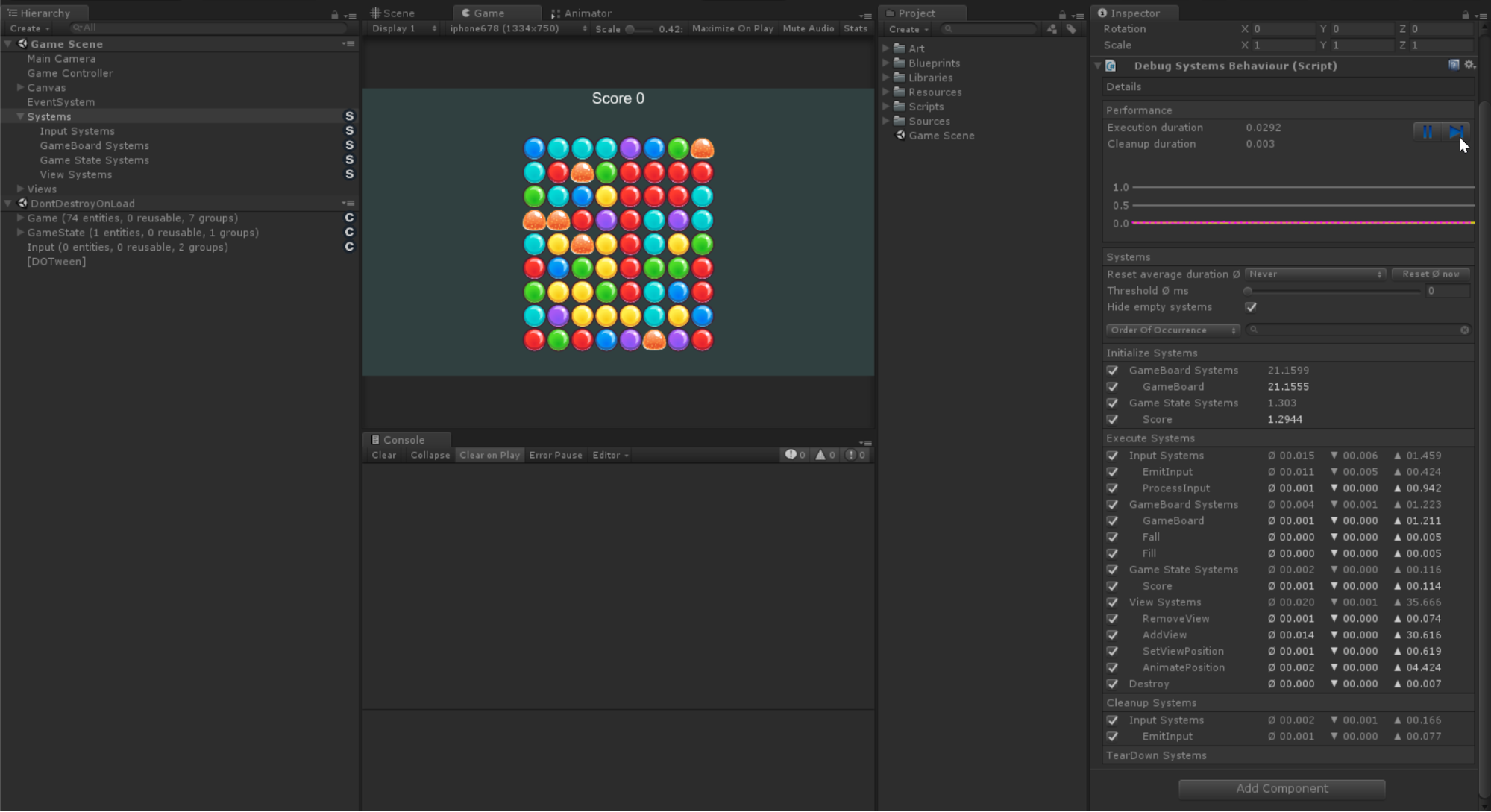 How we are debugging in a browser samopisny ECS on the game